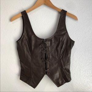 Vintage Dana Buchanan Brown Leather Lace-up Vest